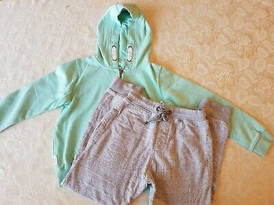 Next Tracksuit Hoodie Jumper Top Green & Grey Jogging Bottoms Age 10 Years