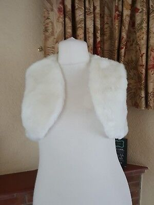 Ivory Cream Fluffy Faux Fur Shoulder Cropped Shrug - By Next Size 14 16 18