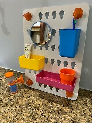 IKEA LADDAN 6-Piece Bathroom Children's Teeth Cleaning Station. Wall Mounted.