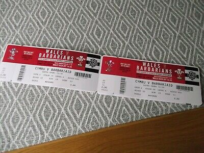 WELSH rugby union ,2  ticket stub,MINT,WALES V BARBARIANS 30/11/2019,(6)