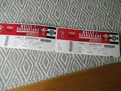 WELSH rugby union ,2  ticket stub,MINT,WALES V BARBARIANS 30/11/2019,(3)