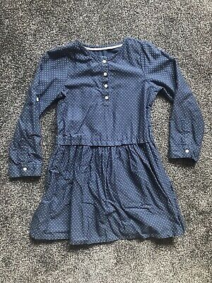 Mothercare Girls Blue With Polka Dots Long Sleeved Dress Age 6-7 Years