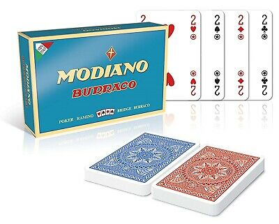 Carte da Gioco Modiano Burraco Cristallo Extra Carte Poker Ramino Scala Bridge