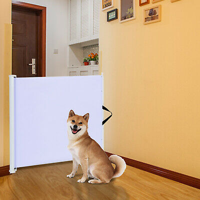 Pet Safety Gate Retractable Dog Barrier Folding Home Doorway Stair Guard White