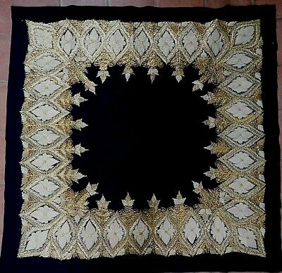 Antique / Vintage Gold Thread On Black  Densely Embroidered Cloth, 134 X 134 Cm