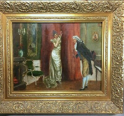 ANTIQUE FRENCH 19th Century Oil PAINTING LADY PORTRAIT Erotic Romantic Framed