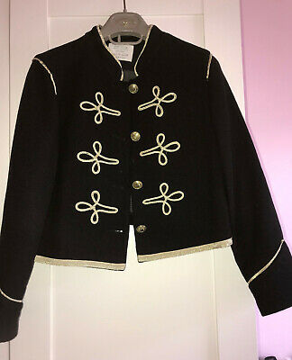 Zara Girls Black Gold Trim Military Style Blazer / Jacket Age 11-12