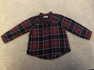 NEXT Girls Stylish Tartan Frilly Button Up Shirt Age 3 Years. Fab Condition