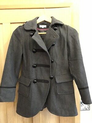 Girls Coat Grey Military Style Size  Age 10 - 12 Ideal Winter School Coat