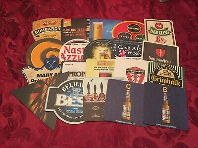 Collection Of 20 Different Beer Mats Tray 25 Lot No282 - Some Rare Beer Mats