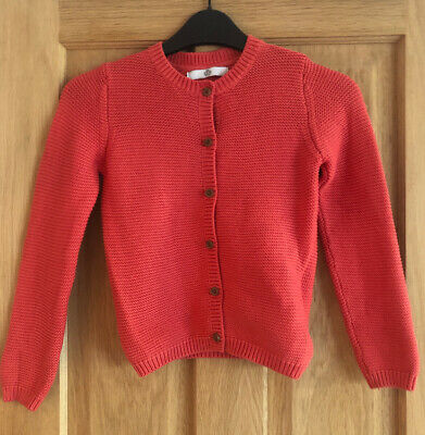 Marks & Spencer Girls Coral Cardigan Age 6-7 Years 100% Cotton