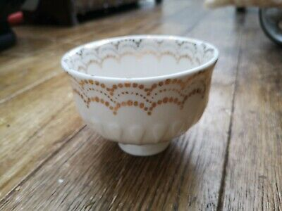 Anthropologie Decorative Footed Bowl, Cream Ceramic And Gold