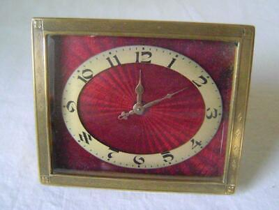 Art Deco Strut Clock with Guilloche Enamel Dial and Ormolu Case: working