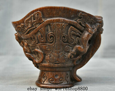 """5"""" Old Chinese Ox Horn Dynasty Palace Carving Dragon Pixiu Beast Drinking Cup"""