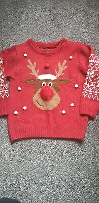 Red Unisex Next Reindeer Christmas Jumper Age 4-5 immaculate condition
