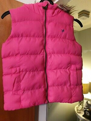 Girls Pink Padded Hooded Gillet Age 8/9