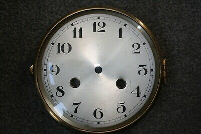 "Vintage Art Deco Striking Clock Dial/Face 6"" hinged brass bezel/glass for parts"
