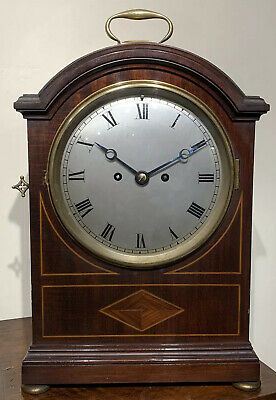Mahogany Double Fusee Pad Top Bracket Clock