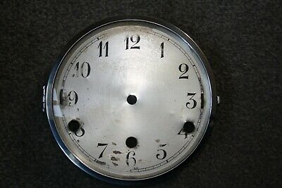"Vintage Art Deco Dual Chime Clock Dial/Face 6"" hinged chrome bezel/glass parts"