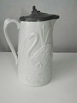 19Th Century Antique Victorian Relief Moulded Swan Pattern Jug With Pewter Lid