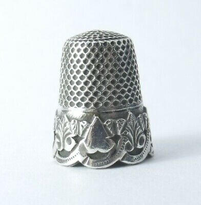 Antique French Solid Silver Thimble Love Heart Hand Etched, French Hallmarks