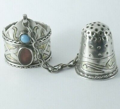 ANTIQUE c1900 SOLID SILVER THIMBLE & RING GUARD TURKMENISTAN GILDED with JEWELS
