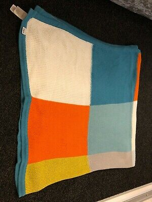 Mamas and papas squares cot bed blanket . Multi colour.