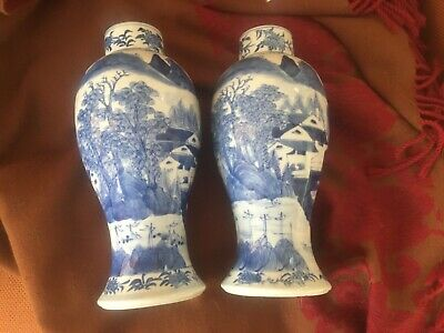 Pair Antique Chinese porcelain vase jar blue white Jiaqing mark one as is no lid