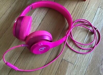 Beats by Dr. Dre Solo 2 Wired Headband Headphones - Hot Pink RARE