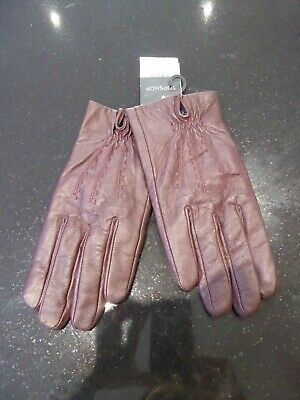 TOPSHOP Leather Touchscreen Gloves - Oxblood - Small/Medium RRP£20 New