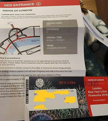 London new years eve 2019 fireworks tickets Red X4