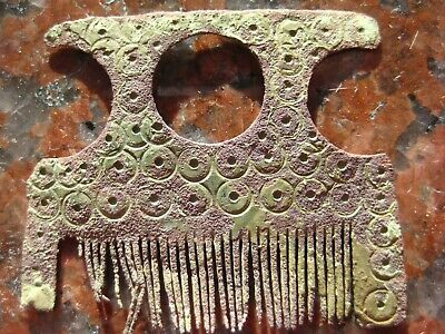 ANCIENT SOLAR BRONZE HAIR COMB Viking Kievan Rus 10-12 century AD
