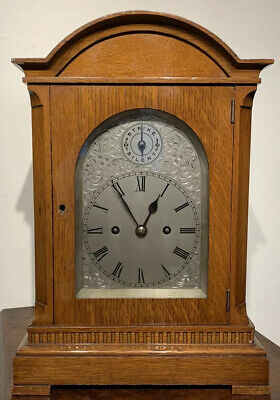German Light Oak Double Fusee Bracket Clock