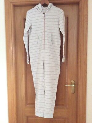 Girls M&S One piece age 13-14 years grey with pink strip Cotton VGC
