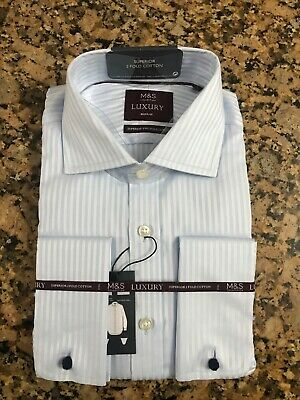 M&S MENS Luxury Collection Blue Two Fold Cotton Regular Fit Shirt 16 RRP £45