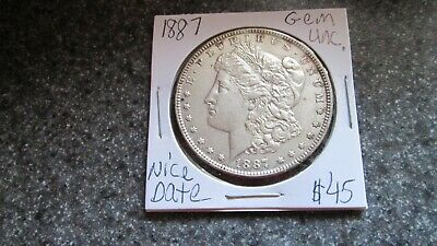 1887 P  MORGAN SILVER DOLLAR in VERY NICE  GEM UNC.  cond, RARE DATE,COMB. SHIP