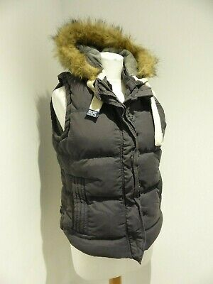 Superdry University Gilet grey navy hooded Large 10 12 casual faux fur body warm