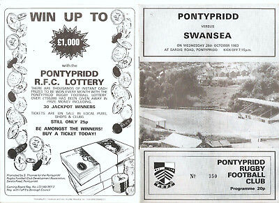 Pontypridd versus Swansea Wednesday 26th October 1983 Programme.,