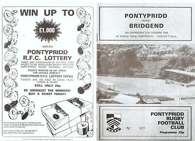 Pontypridd versus Bridgend Wednesday 31st October 1984 Programme.,