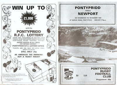 Pontypridd versus Newport Wednesday 7th November 1984 Programme.,