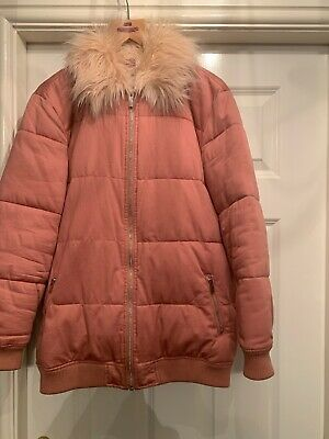 River Island Girls Pink Padded Coat With Faux Fur Collar Age 11-12