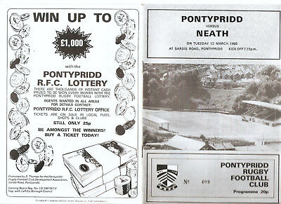 Pontypridd versus Neath Tuesday 12th March 1985 Programme.,