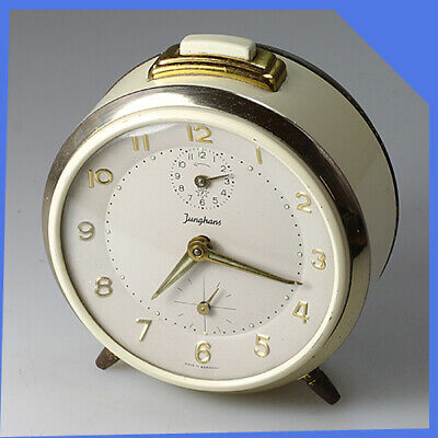 JUNGHANS Germany Metal Brass White Chrome Mechanical Wind up Alarm Clock