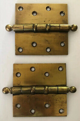SW Made In Germany Four Hole 4 X4 Square Ball Tip Ball Bearing Pair Hinges Brass