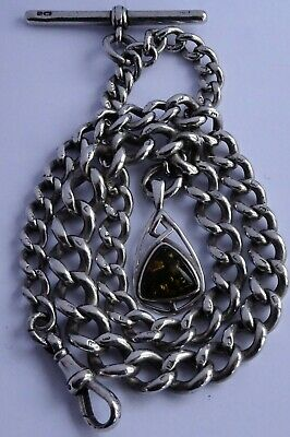 Fantastic antique solid sterling silver pocket watch albert chain & amber fob