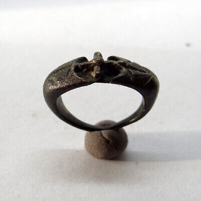 Medieval Ancient Artifact Bronze Small Ring With Cross