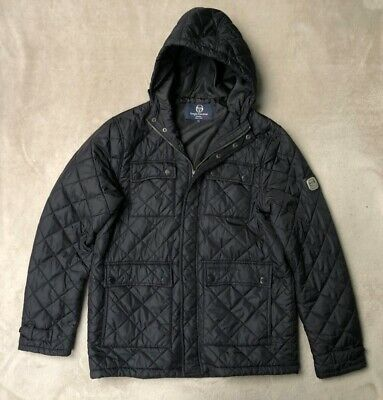Sergio Tacchini Illest Zip Up Mens Coat Hooded Outdoor Jacket Navy 37671 961 A52
