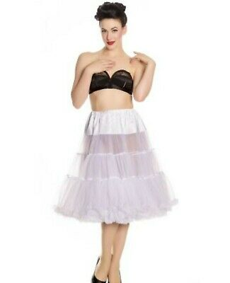 """New Hell Bunny White Net Petticoat 2 layer approx 24"""" long Rockabilly xs to m"""