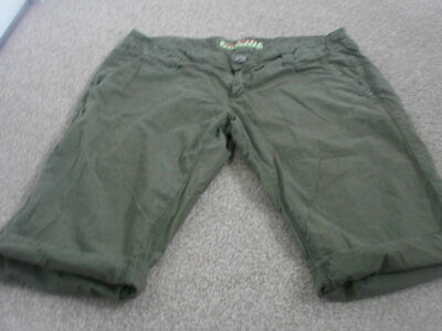Miss Sixty Khaki Cotton Army Shorts Olive Green Shorts