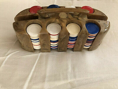 Vintage Catalin /Bakelite Marbled Poker Chip Holder Caddy